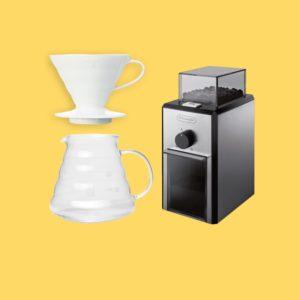 Kit Cafetière Hario V60 + Moulin électrique + Café Bio + Filtres